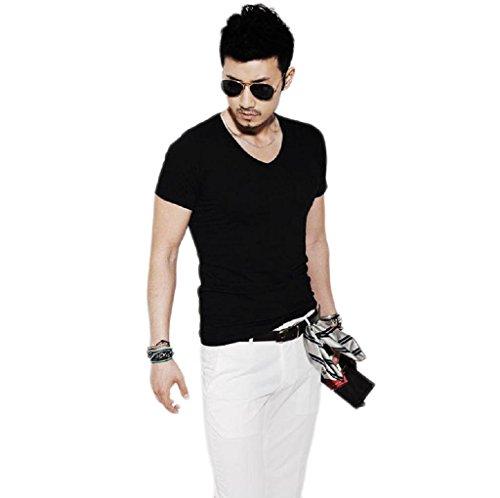 Tonsee® Fashion Hommes Slim Fit Coton v-Neck Short Manches Casual T-Shirt Tops Chaud (XL, Nior)