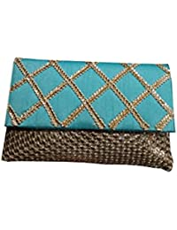 V Raj Bag Women's Synthetic Blue Clutch With Sling Bag ( 9 X 2 X 4 Inches (L × W × H ))