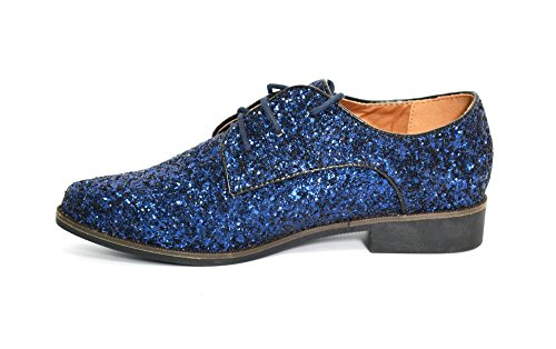 SHF49 * Derbies Derby Ornées de Paillettes avec Bout Pointu, Surpiqûres et Lacet - Mode Femme (Bleu) Bleu