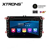 Xtrons, autoradio Android 8.1, lettore DVD, touch screen da 8 pollici, unità di navigazione GPS, completa RCA, Bluetooth 5.0, schermo diviso DVR, per VW Golf 5, Passat B6, Polo, Skoda