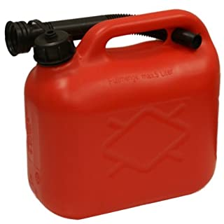 5 LITRE RED PLASTIC FUEL CAN & FUNNEL PETROL/DIESEL