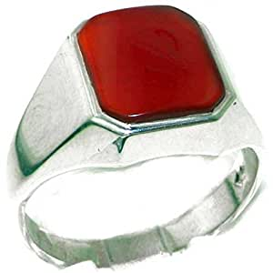 Gents Solid 925 Sterling Silver Natural Carnelian Mens Signet Ring, Made in England - Size M - Finger Sizes M to Z+2 Available - Ideal gift for fathers day, valentines, wedding, birthday, christmas, thanksgiving, grandfathers day, uncle, dad, son, nephew