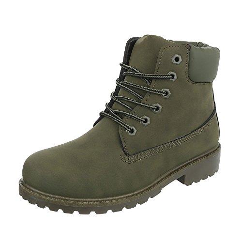 (Ital-Design Schnürstiefeletten Damen-Schuhe Combat Boots Blockabsatz Schnürer Schnürsenkel Stiefeletten Olive, Gr 40, Fc8647-)