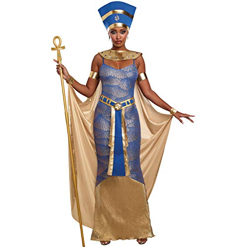 Dreamgirl AG Damen Kostüm Nofretete blau Gold Göttin Antike Ägypten Fasching (M) (Göttin Des Nils Für Erwachsene Kostüm)