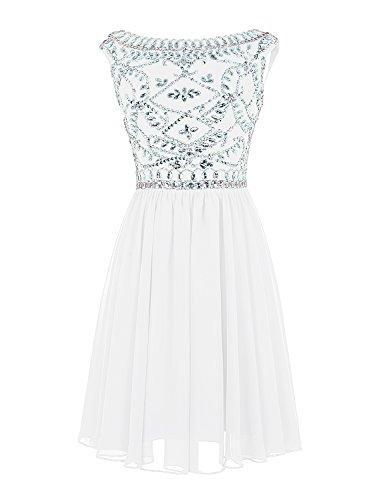 Find Dress Femme Elégant Robe de Soirée/Cérémonie/Cocktail Mariage Courte en Mousseline avec Appliques Blanc