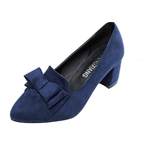XNBZW Damen Schuhe Bowknot Wildleder Thick High Heel Stiletto Spitz Bow flachen Mund Single Schuhe Oberfläche Arbeitsschuhe (Schwarz,35 EU)