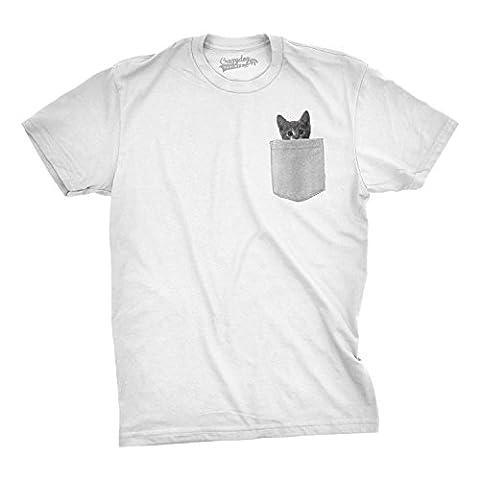 Crazy Dog TShirts - Mens Pocket Cat T Shirt Funny Printed Peeking Pet Kitten Animal Tee For Guys (White) - XL - herren - XL