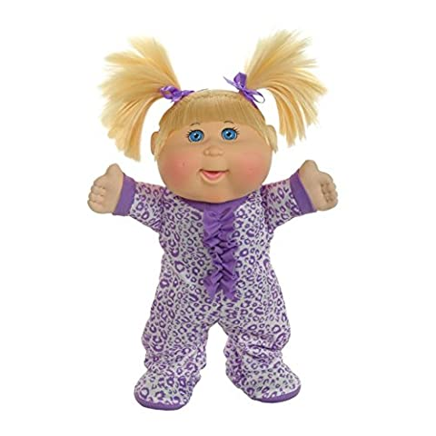 """Cabbage Patch Kids Pajama Dance Party Blonde Leopard Baby Doll, 12.5"""", Purple"""