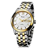 Binger Automatic Mechanical Movement Sapphire Waterproof Watch for Men - N9201-White Gold