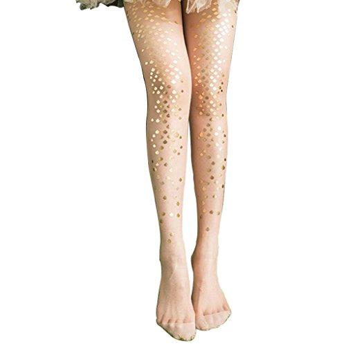trümpfe Meerjungfrau Strümpfe Bikini Strumpfhosen, Bodenbildung Socken Gedruckt Tattoo Strümpfe (2 Stück),Gold,OneSize ()