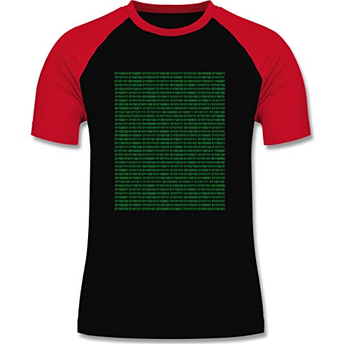Shirtracer Programmierer - Binärcode - Herren Baseball Shirt Schwarz/Rot