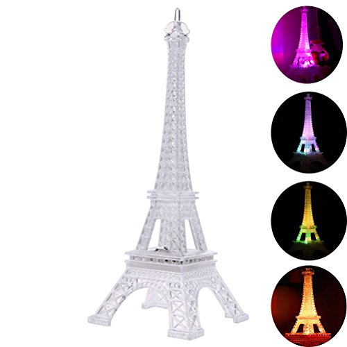 LEDMOMO Coloré Tour Eiffel Night Light, 7 couleurs LED Lampe Paris Fashion Style Acrylique Décoration cadeau, 9.8 pouces
