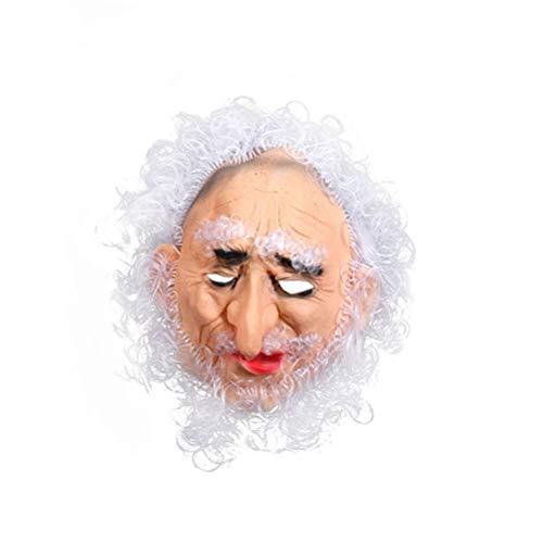 Amosfun Halloween Cosplay Kostüm Requisite Alter Mann Maske Gruselmaske Halloween Cosplay Performance Zubehör (weißes Haar Alter Mann) (Wirklich Gruselige Halloween Kostüme Für Männer)