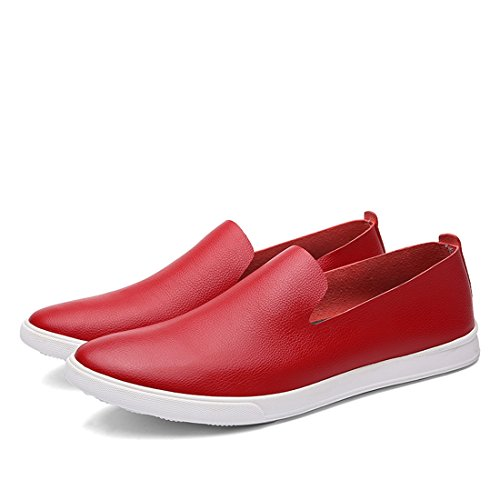 Minitoo Boys Mens Rubber Sole Spring Shoes Dress Loafers Red