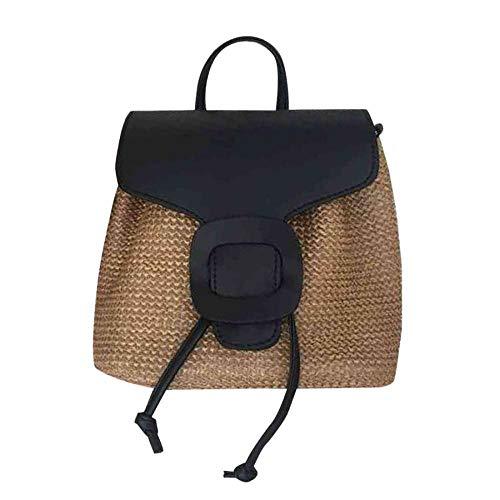 Rattan-Stroh-Rucksack, handgefertigt, Retro-Stil, Handtasche für Strand, Reisen, Sommer Gr. One size, Schwarz Rattan-rucksack