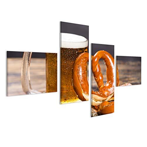 islandburner Bild Bilder auf Leinwand Alkohol, Flüssigkeit, Nahrungsmittelkonzept - eine enorme Schale Bier auf Einer Tabelle mit Einem Bagel. Wandbild, Poster, Leinwandbild OKQ