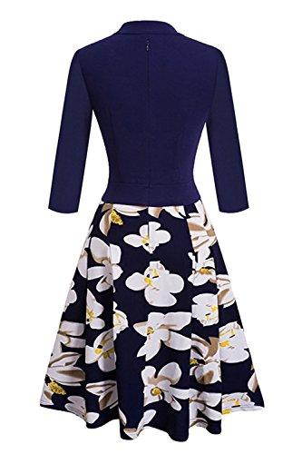 Robe Femme Vintage Impression à Fleurs Jointif Manche 3/4 Col en V Swing en Coton par MisShow Bleu Marine