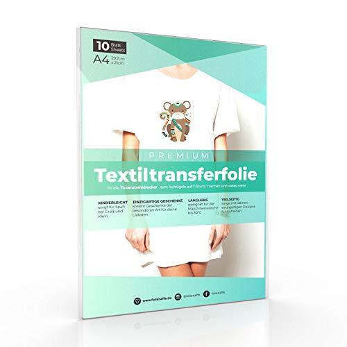 A4 Transferfolie für HELLE Stoffe und Tintenstrahldrucker, Transferpapier/Bügelfolie zum Bedrucken und Aufbügeln auf T Shirts und versch. Textilien (10 Blatt)
