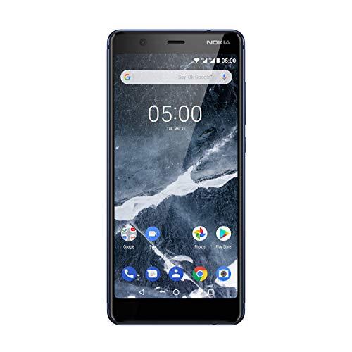 Nokia 5.1 Smartphone (13,97 cm (5,5 Zoll) HD+ Dislplay, 16GB, 2GB RAM, 16MP Kamera, langlebiger Vollalurahmen, Android Oreo, Dual Sim, inkl. Displayschutzfolie, Amazon Edition) blau, version 2018