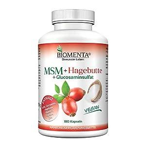 BIOMENTA MSM Schwefel + Hagebuttenextrakt + Glucosamin – zusätzlich mit Calcium, Vitamin C, Zink – 3 Monatskur – vegan – 180 MSM Kapseln hochdosiert – Gelenkkapseln bei Gelenk Schmerzen, Anti Pickel Tabletten bei Akne