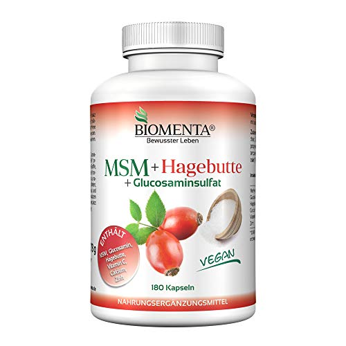 BIOMENTA MSM Schwefel + Hagebuttenpulver + Glucosamin | 3 Monatskur | VEGAN | 180 MSM Kapseln hochdosiert | Gelenkkapseln bei Gelenk Schmerzen – Anti Pickel Tabletten bei Akne