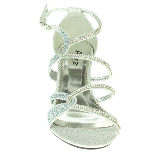 Femmes Dames Diamante Soir Mariage Fête Bal de promo Milieu Talon de chaton Des sandales Chaussures Taille Argent
