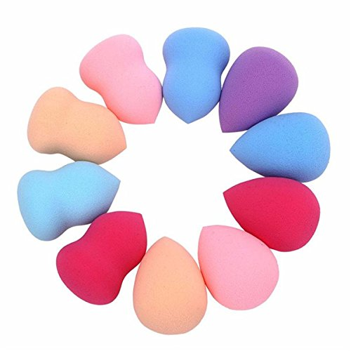 Lvedu 10 pcs Make Up éponges coloré Beauté Cosmétique visage Makeup Blender Foundation Puff souple