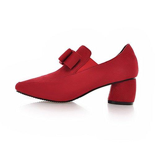 AllhqFashion Damen Mittler Absatz Rein Ziehen Auf Mattglasbirne Spitz Zehe Pumps Schuhe Rot