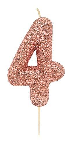 Anniversary House AHC50/4 Rotgold Nummer 4 Glitzer Kerze
