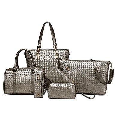 La donna pu formale / Casual / evento/parte / Ufficio & Carriera / Shopping / Wedding Borsa a tracolla / Tote Bag / Imposta bianco / blu / grigio / nero,Nero White