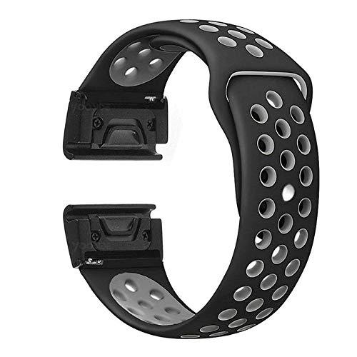YOOSIDE Fenix 5X Silikon Armband, 26mm Edelstahl QuickFit+Weich Wasserdicht Silikon Ersatzarmband Uhrenarmband für Garmin Fenix 5X/Fenix 5X Plus/Fenix 3/Quatix 3/D2 Delta PX/,Schwarz-grau