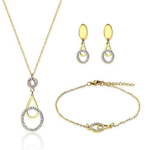 YDMSGSB Braut Halskette Anhänger Damen Titan Stahl Dreiteiligen Satz Von Wasser Besetzte Armbänder Ohrringe Gold Damen Hochzeit Abendessen Geschenk Schmuck-Set - Gold-metall-bett-satz