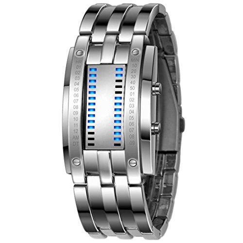 Orologi da polso, Oyedens Uomo di lusso in acciaio inox Data Bracciale Orologi sportivi digitali a LED (Argento)