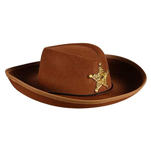 Cowboy-Hut für Kinder Cowgirl Sheriff Wilder Westen Ranger Cowboykostüm Partyhut Spaßhut Kopfbedeckung Hochwertiges Kostüm-Zubehör Karneval Fasching Einheitsgröße Braun