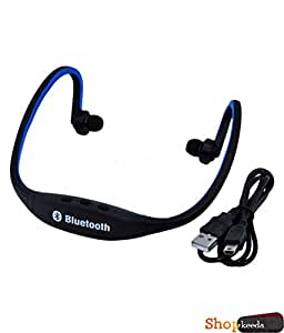 Karbonn A51Q COMPATIBLE BS19 Wireless Bluetooth On-ear Sports Headset Headphones (with Micro Sd Card Slot and FM Radio) BLUE