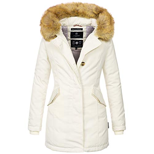 Marikoo Damen Winter Jacke Parka Mantel Winterjacke warm gefüttert B362 [B362-Karmaa-Weiss-Gr.XXL]