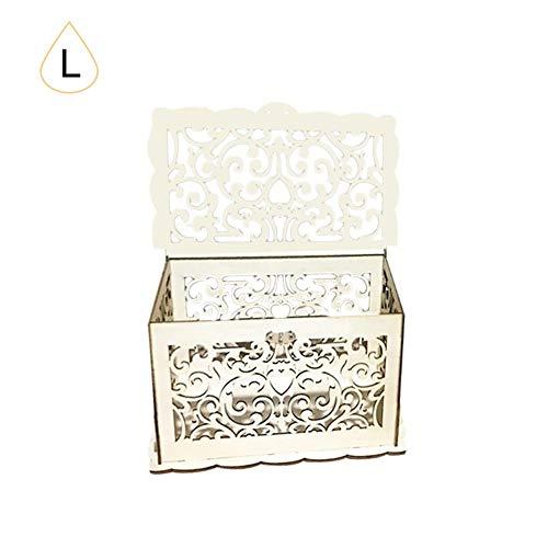 kapokilly Hochzeit Karte Box, DIY Holz Karte Box Geld Box Brief Box Brief Veranstalter Geschenk Karte Boxen für Hochzeiten Dekor (Diy Karte Box Hochzeit)