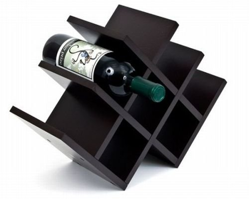 Home Sparkle Wooden 8-Bottle Pyramid Wine Rack (Black)