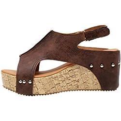 Sandalias de Vestir tacón Alto para Mujer y niña, QinMM Casual Zapatos de Baño Verano Playa Chanclas (39, Marrón)