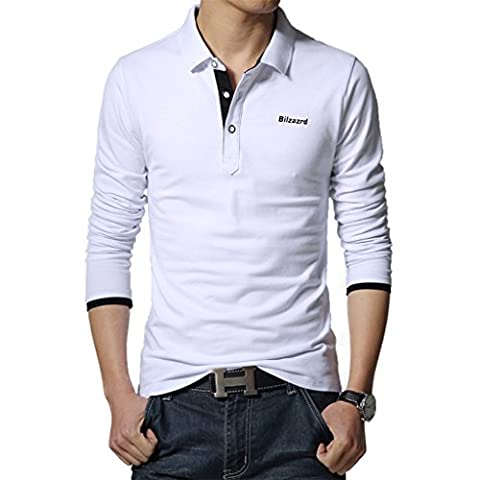 WSLCN Homme Coton Polo Shirt Sans Poche T-shirt Manches Longues Blanc FR L (Asie 4XL)