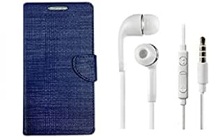 ZEDAK FLIP COVER BLUE WITH HEADPHONE WHITE FOR SAMSUNG GALAXY A9 PRO