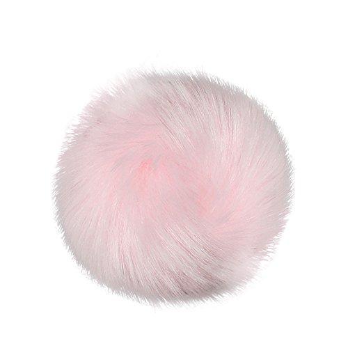 """DIY Faux-Fox-Pelz-Flaumiger Pompom-Ball FüR Strickende Hut-HüTe Mit Elastischer Schnur Das Stricken Der Hut-HüTe, 10Cm (4"""") PopuläRe Mischungs-Farben Stellten (Rosa,Freie Größe)"""