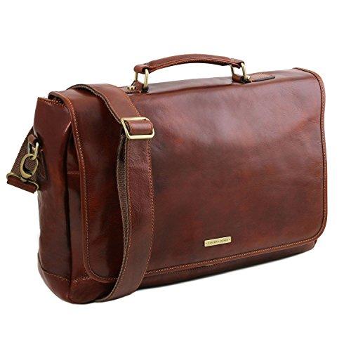 Tuscany Leather Mantova - Cartella TL SMART multiscomparto in pelle con pattella - TL141450 (Nero) Marrone