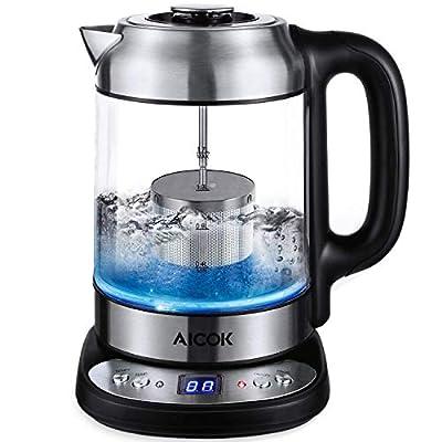 Aicok GLas Bouilloire avec réglage de la température 50-100 °C en 5 ° - Éclairage LED - Infuseur à thé amovible - Réchaud avec affichage de la température - 1,7 l - 2200 W