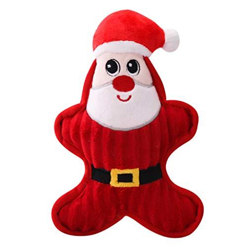 huyiko Squeaky Plüschspielzeug für Hunde, Weihnachtsmotiv, Squeaker, Santa, Schneemann, Pinguin, Kauspielzeug, Kunststoff, 1