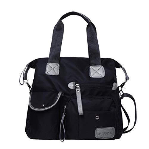 Ansenesna Umhängetasche Damen Nylon Stoff Reißverschluss Groß Handtasche mit Griff Mädchen Wasserdicht (Schwarz) - Vintage Nylon Rosa