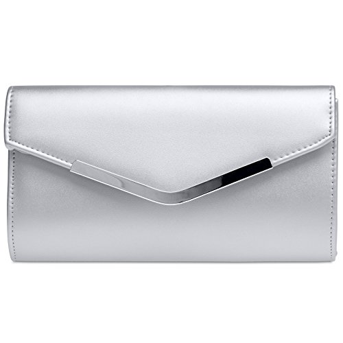 CASPAR TA384 elegante Damen Envelope Clutch Tasche / Abendtasche mit langer Kette Silber