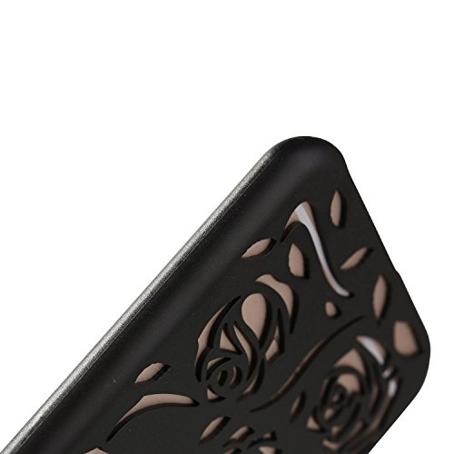 Case for iPhone 6/6S Rose Hollow Out Design PC Hard Case for Apple iPhone 6/6S - Blue Black