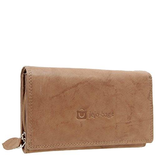 Damen Portemonnaie Große Geldbörse Geldbeutel für Frauen Echt-Leder Portmonee mit RFID Schutz in 5 Farben von jejo-bags ... (tan) -