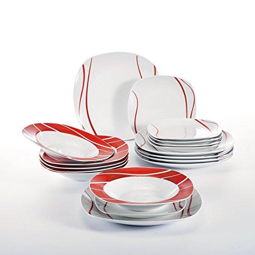 Malacasa, Serie Felisa, 18 tlg. Set Porzellan Geschirrset Tafelservice mit je 6x Speiseteller Essteller, 6x Kuchenteller Dessertteller, 6x Suppenteller Tiefteller für 6 Personen